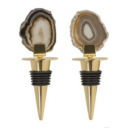 Agate Pair of bottle stoppers, L12.5cm, black
