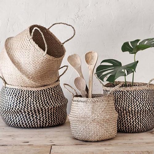 Ekuri Large basket, H40 x D40cm, black and natural