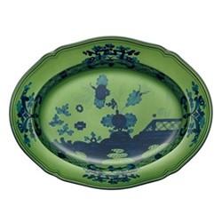 Oriente Italiano Oval platter, 34cm, malachite