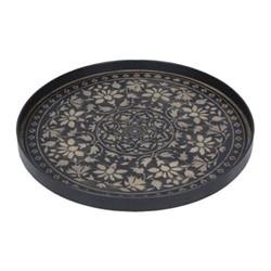 Marrakech Driftwood tray, D61 x H4cm, black