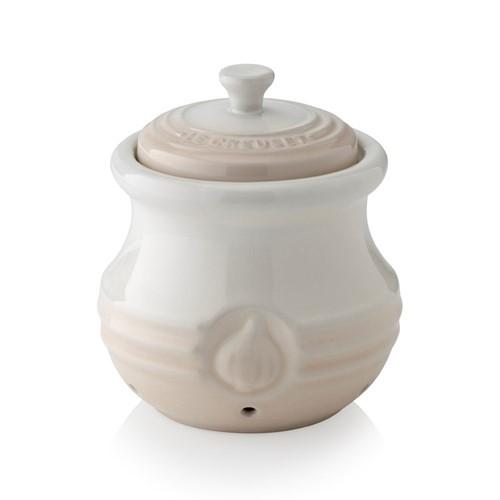 Stoneware Garlic keeper, 12.5 x 7cm, meringue
