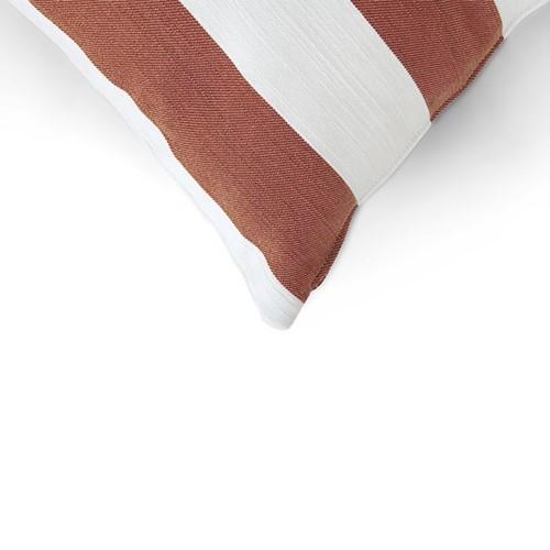 Evie Stripe Outdoor cushion, H45 x W45cm, Burnt Sienna