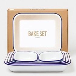 Enamel bake set, white with blue rim