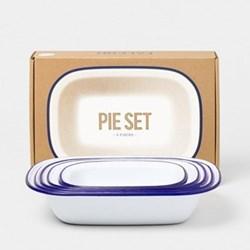 Enamel pie set, white with blue rim