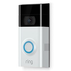 Ring V2 Smart video doorbell with built-in Wi-Fi and camera, L12.83 x W6.35 x H2.74cm, silver black