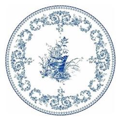 Les Dépareillées Bleu Oiseau Coaster, Dia13cm, white/blue