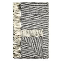 Donegal Grey Heavy herringbone wool throw, L183 x W142cm, grey