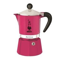 Rainbow Aluminium stovetop coffee maker, 3 cup, pink