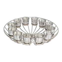 Circular Wire Candle stand with 12 votives, H11 x Dia41cm, nickel