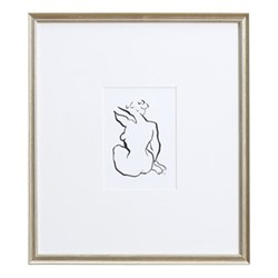 Sketch - Seated IV Wall Art, H45 xW40cm, black cedar wood