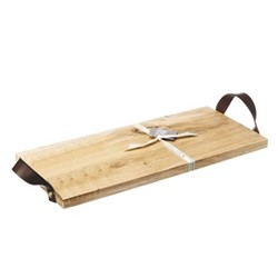 Rectangular serving board with leather tab, L45 x W20 x H2cm, oak