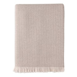 Cashmere throw, 190 x 140cm, ivory & fawn
