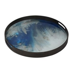 Mist Small glass tray, D48 x H4cm, blue