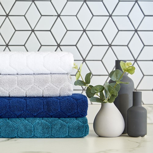Honeycomb Pair of hand towels, 50 x 100cm, peacock
