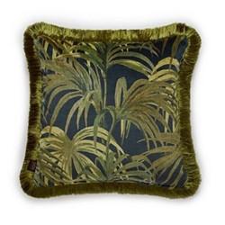 Palmeral Medium velvet fringed cushion, 45 x 45cm, midnight/green