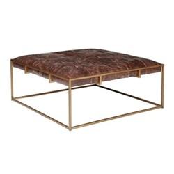 Wallace Coffee table, L92 x W92 x H40cm, aged hazelnut leather