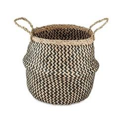 Ekuri Small basket, H38 x D30cm, black and natural