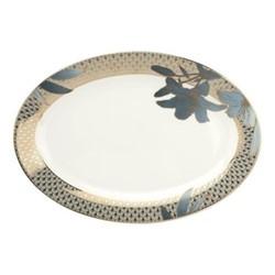 Blue Lily Oval platter, Dia30cm, 22 carat gold / blue