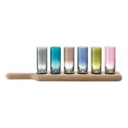 Paddle Set of 6 vodka glasses with oak paddle, 40cm, assorted colours