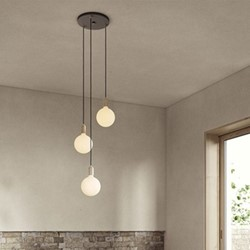 Canopy & Sphere Bulb Triple ceiling plate & pendant set, H400 x W25cm, Black & Brass
