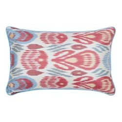 Ikat Cushion, 60 x 40cm, Green/Red/Blue