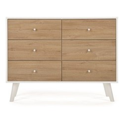 Larsen Wide chest of drawers, W120 x H91 x D45cm, oak and white