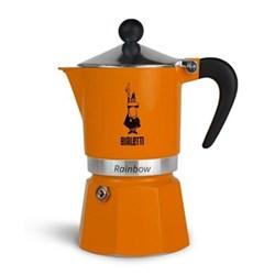 Rainbow Aluminium stovetop coffee maker, 3 cup, orange