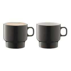 Utility Pair of flat white cups, H8 x D10.5cm, slate