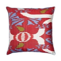 Ikat Cushion, 60 x 40cm, Red/Blue