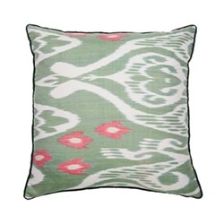 Ikat Cushion, 50 x 50cm, Green/Pink