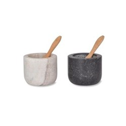 Brompton Salt and pepper pots, H5 x W6 x D6cm, marble/granite