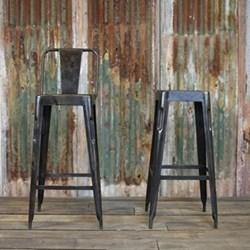 Chari Bar chair, 105 x 39 x 39cm, distressed black