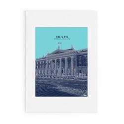 Dublin Landmark Collection - GPO Framed print, A3 size, blue/navy