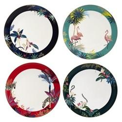 Tahiti Set of 4 melamine dinner plates, 25.5cm, multi