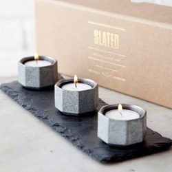 Candle trio, 30 x 10cm, steel and slate