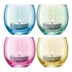Polka Set of 4 tealight holders, 6.5cm, assorted pastels