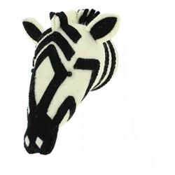 Decorative Plaques Mini wall mounted zebra head, H23 x W14 x D22cm, black and white felt