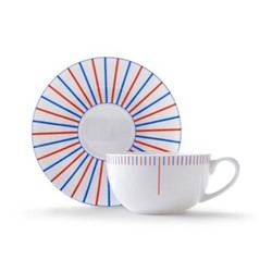 Burst Cappuccino cup and saucer, H7.5 x D11cm, red/blue
