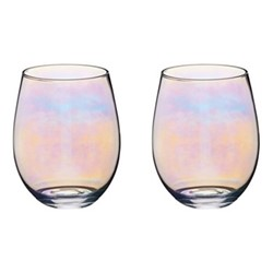 BarCraft Pair of glass tumblers, 11.7cm - 0.6 litre, lustre