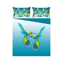 Sipping Nectar King size bed linen set, blue/green - sateen finish
