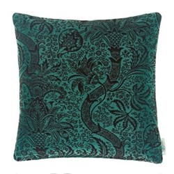 Indian Flock Velvet Cushion, W50 x L50cm, green