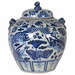 Pot, H43 x Dia35cm, blue