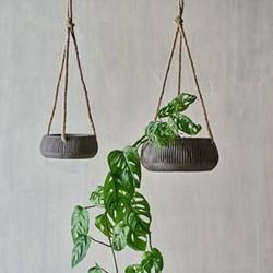 Wampu Hanging Planter Large Distressed Brown, Large
