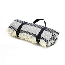 Crosshatch Stripe Recycled picnic rug, L120 x W150cm, navy and silver