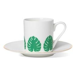 Tropical Leaf Espresso cup and saucer, gold rim