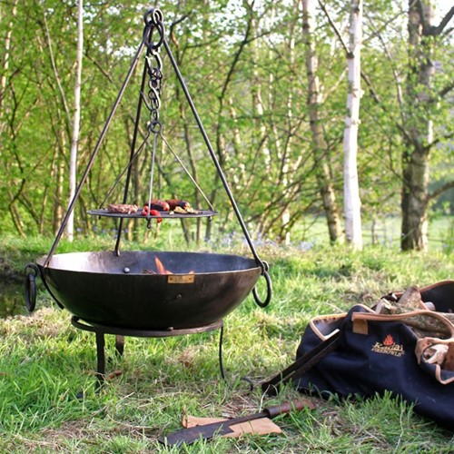 Tula Firepit with stand, Metallic