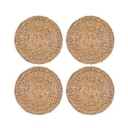 Naturals Set of 4 round placemats, 30cm, water hyacinth
