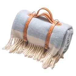 Herringbone Picnic blanket, 130 x 200cm, light blue wool