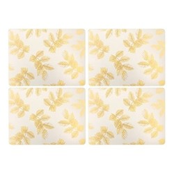 Etched Leaves Set of 4 placemats, 40.1 x 29cm, light grey