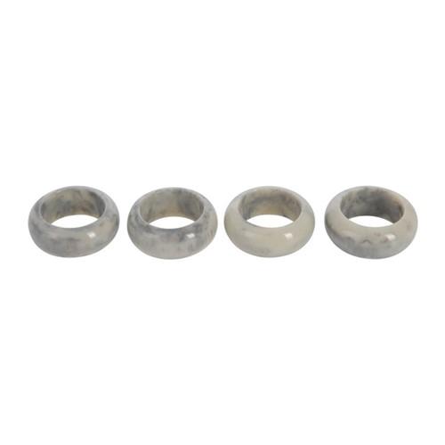 Set of 4 marble napkin rings, Dia4cm, grey